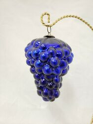 1890and039s Vintage Antique 4.75 Asymmetrical Cobalt Blue Glass Grape Cluster Kugel