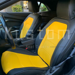 For 16-up Camaro Coupe | Custom Fit Yellow Black Interior Leather Seat Covers