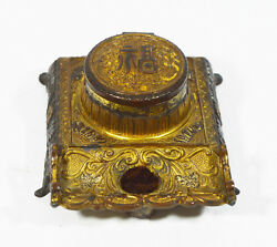 Antique Japanese Meiji Period Bronze Inkwell And Glass