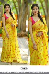 Yellow Pink  Georgette Party Saree Wedding Designer Bollywood Style Women Sari