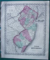 1855 Large Antique Map-colton- New Jersey