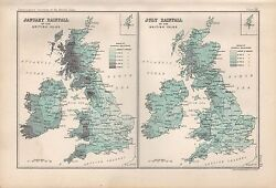 1904 Antique Map British Isles January/july Rainfall 2 Images