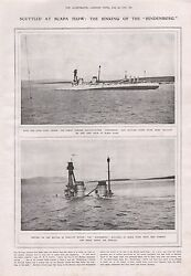 1919-vintage Print- Scuttled At Scapa Flow Sinking Of The Hindenburg