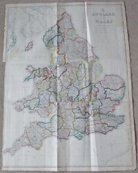 1863 Large Antique Map - Dispatch Atlas- England And Wales