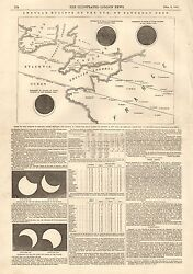 1847 Antique Print- Annular Eclipse Of The Sun, Pictures,tables,text