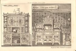 1880 Antique Print- Architecture - Dining Room Buffet, Chair And Bracket