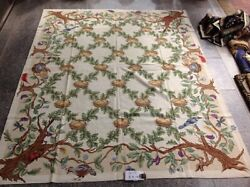 8.5and039 X 11.5and039 French Country Theme Bird Nest On Vines Vtg Deluxe Needlepoint Rug