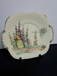 Antique Crown Staffordshire 1906 Serving Cake Plate With Gold Rims Made England
