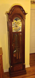 Vintage Sligh Grandfather Hall Clock Lunar Dial Wood Case Runs Strikes Chimes