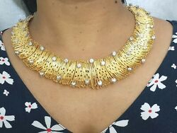 925 Sterling Silver Necklace Yellow Gold Plated White Round Collar Jewel Alc