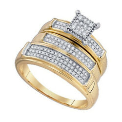 3/8 Ct Diamond Cluster Trio 3 Piece 10k Yellow Gold Engagement Band Ring Set New