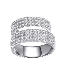 Solid 18k White Gold Round Cut Pave Simulated Wedding Band Set Of 2 Rings
