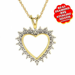 0.05 Ct Real Diamond In14k Yellow Gold Over Silver Heart Pendant Valentine Gifts