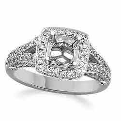 1 Carat Diamond Prong And Bezel Halo Semi-mount Engagement Ring In 14k White Gold