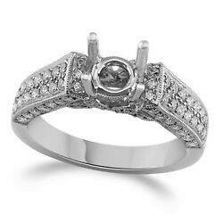 7/8 Ctw Round Natural Diamond Semi-mount Engagement Ring 14k Solid White Gold
