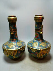 Collection Chinese pure copper Cloisonne Hand-made Vase A pair