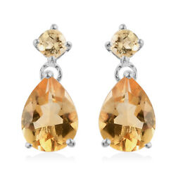 925 Sterling Silver Citrine Dangle Drop Earrings Jewelry Gift for Women Cttw 2.3