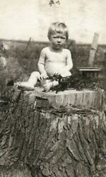C.1910 Rppc Infant With Hubley Toy Ice Wagon Postcard P165