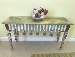 EUC Mackenzie Childs Console Table With Tassels