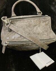 Authentic Givenchy Pandora Medium Messenger Pepe Leather Cross Body Bag Charcoal