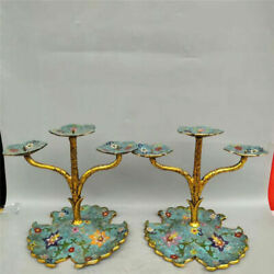Collection Chinese pure copper gilt Cloisonne Hand-made lotus Candlestick A pair