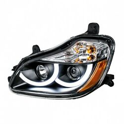 2013+ Kenworth T680 Projection Headlight W/ Led Position Light- Blackout- Driver