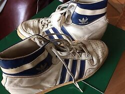 1972 Adidas Rare Original Vintage Leather Sport Shoes + 1972 Adidas Sport Bag