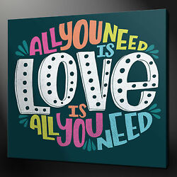 All You Need Is Love Canvas Picture Print Wall Art Home Decor Free Fast Delivery