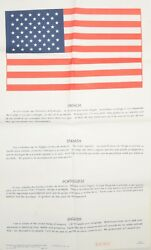 Usaaf Pilot Blood Chit French Spanish Portuguese Numbered Silk Screen