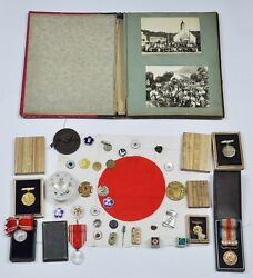 Lot Collection Of Japanese Medal Order Japan Ww2 Photo Army War Pin Ribbon