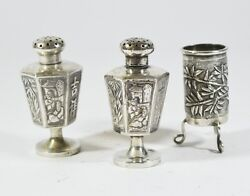 Antique Chinese Export Sterling Silver Salt Dish And Pepper Shaker