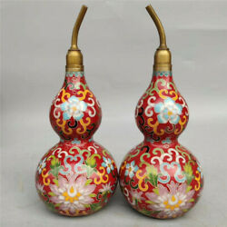 Collection Chinese pure copper Cloisonne Handmade Eight trigrams gourd A pair