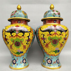Collection Chinese pure copper Cloisonne Handmade General tank pot A pair