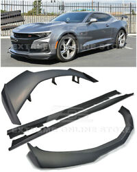 For 19-up Camaro All | Zl1 1le Style Front Splitter Lip Side Skirts Rear Spolier