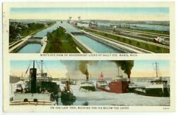 C1920s Great Lakes Steamers Bucking The Ice - Sault Ste. Marie, Michigan