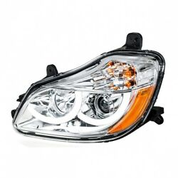 2013+ Kenworth T680 Projection Headlight W/ Led Position Light- Chrome- Driver