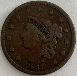 1837 Liberty Head Large Cent - Matron Head Modified - Young Head Head Of 1838