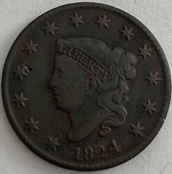 1824 Liberty Head Large Cent - Matron Head Large Cent Normal Date Fine