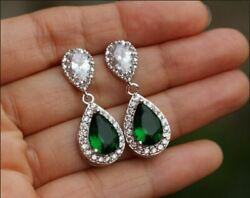 3ct Pear Cut Green Emerald Clip-on Hoop Earrings Solid 14k White Gold Finish