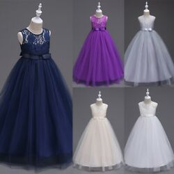 For Teens Wedding Bridesmaid Lace Flower Girl Dress Maxi Long Formal Ball Gown