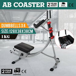 Ab Coaster Abdominal Machine+4 Dumbbells All Level Obliques Muscle Exercise