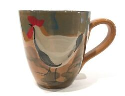 Vietri Italian Hand Painted Rooster 10oz. Coffee Cup Countryside Brown