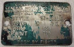 1957 57 Chevrolet Chevy 210 Del Ray Club Coupe Tag Data Plate M 739 Oem Green