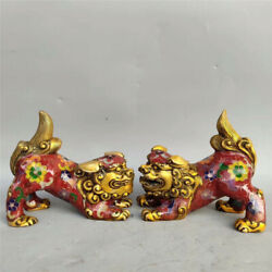 Collect Chinese pure copper gilt Cloisonne Hand-made Brave troops statue A pair