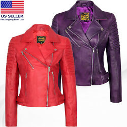 Womenandrsquos Motorcycle Biker Real Leather Jacket Lambskin Leather Top Slim Fit S-3xl