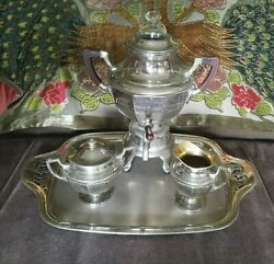 Vintage Manning Bowman Coffee Set With Tray Percolator Cream And Covered Sugar
