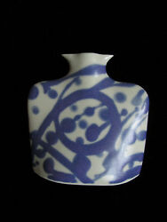 Vase Flow Blue Small Pottery Signed Twice Rare