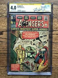 Avengers #1 1963 CGC 4.0 SS Signed Stan Lee HOT KEY Comic Book