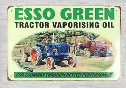 tin chicken signs Esso Green tractor vaporising oil tin metal sign