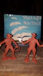 Vintage Louis Marx Plastic Toy Cowboy Set Of 2 6in Tall